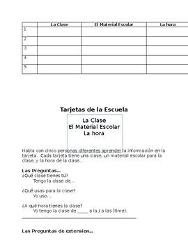 Tarjetas de Escuela