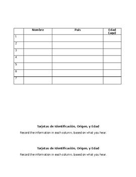 Tarjetas de Identificación - ID Cards (Name, Origin, Age)