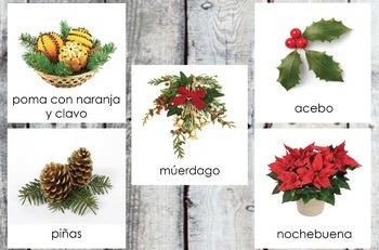 Tarjetas de Navidad/Christmas 3-part cards in Spanish (Montessori)