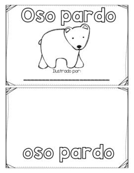 Tarjetas de Oso Pardo y 4 Libritos con palabras de alta frecuencia ¡editables!