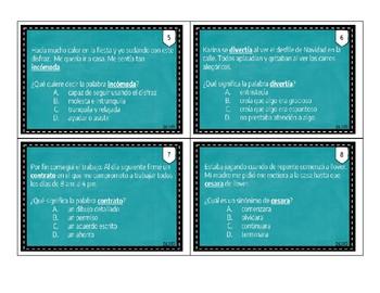 Tarjetas de Pistas de contexto / Spanish Context clues Task cards