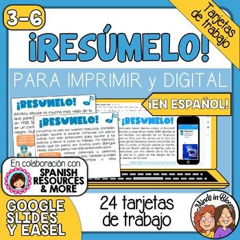 Tarjetas de trabajo: Resumen (Summarizing Task Cards in Spanish)