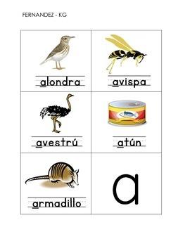 Tarjetas de animales con las vocales a, e, i, o, u (Spanish Flash cards)