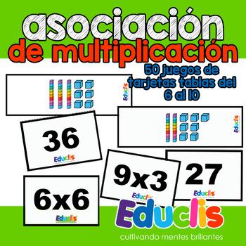 Tarjetas de asociación para la multiplicación 2. Tablas del 6 al 10.