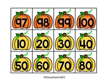 Tarjetas de calabazas para 100s pocket chart