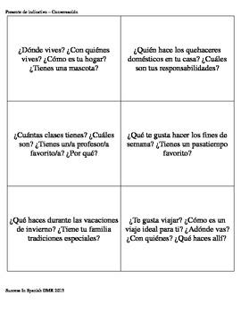 Tarjetas de conversación - Conversation Cards - Presente de indicativo