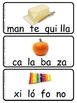 Tarjetas de dibujos con silabas