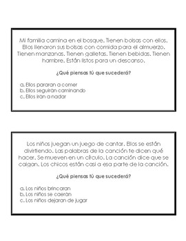 Tarjetas de inferencia en Espanol-  Spanish Inferencing cards with MC answer