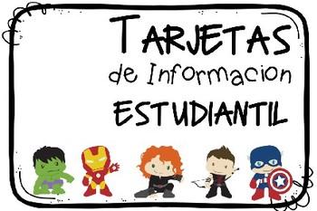 Tarjetas de información estudantil