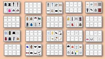 Tarjetas de memoria: ropa y complementos. Clothes and accessories flashcards.