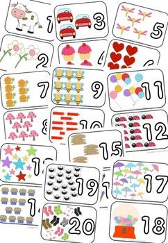 Tarjetas de número y cantidad