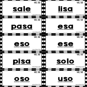 Tarjetas de palabras basicas - Unidad 2: L, S, Repaso