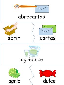 Tarjetas de palabras compuestas en rompecabezas