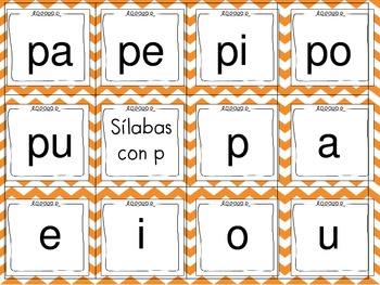 Tarjetas de silabas (SPANISH SYLLABLE CARDS)