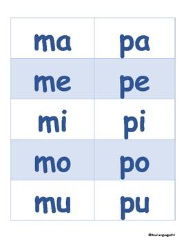 Open Syllable Flash Cards in Spanish (Tarjetas de silabas abiertas)