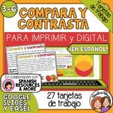 Tarjetas de trabajo: Comparar y contrastar  (Compare and Contrast in Spanish)
