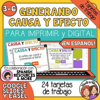 Tarjetas de trabajo: Generando Causa y Efecto (Cause & Effect Spanish)