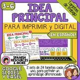 Tarjetas de trabajo: Idea Principal (Main Idea Task Cards Spanish)