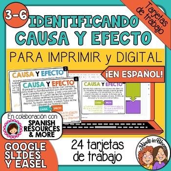 Tarjetas de trabajo: Identificando Causa y Efecto (Cause & Effect Spanish)