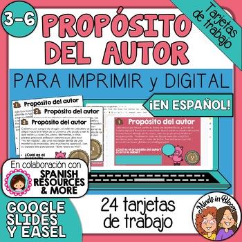 Tarjetas de trabajo: Proposito del Autor (Author's Purpose Task Cards Spanish)