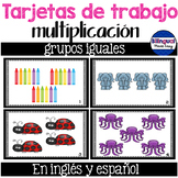 Tarjetas de trabajo de multiplicacion - grupos iguales