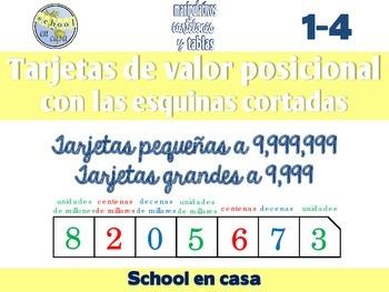 Spanish Place Value Cards with Clipped Corners   Tarjetas de valor posicional
