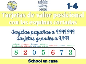 Spanish Place Value Cards with Clipped Corners | Tarjetas