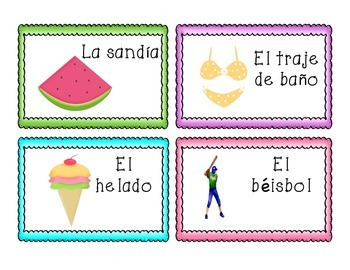 Tarjetas del junio/June Vocabulary Cards in Spanish