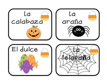Tarjetas del octubre-Vocabulario FREEBIE