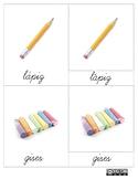 Tarjetas en 3P Montessori 3P de Útiles escolares CURSIVA