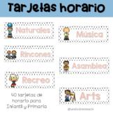 Tarjetas horario en español