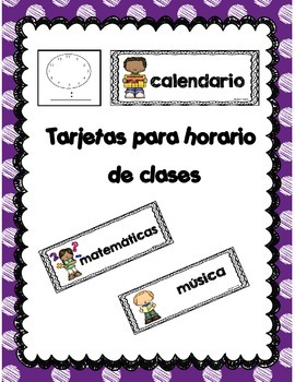 Tarjetas para horario de clases