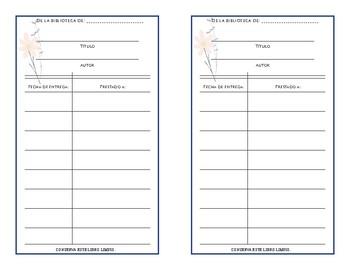 Tarjetas para libros (Library cards in Spanish)