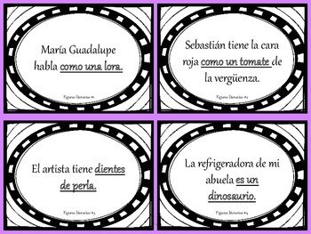 Similes and Metaphors Task Cards in Spanish