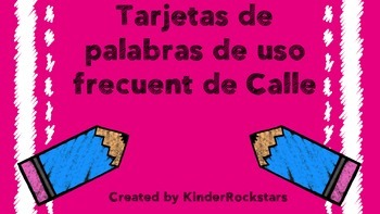 Calle de la Lectura Tarjetas de Palabras Kinder