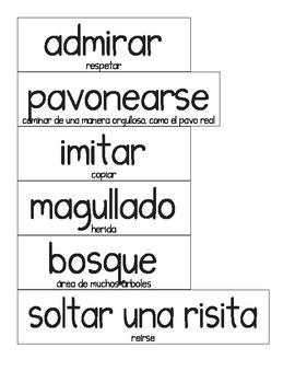 Tarjetitas de Vocabulario de Tesoros de lectura En Voz Alt