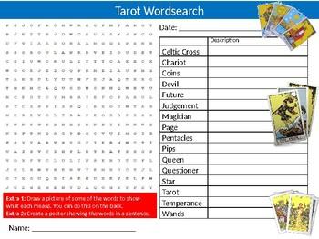 Tarot Cards Wordsearch Puzzle Sheet Keywords Religion & Beliefs