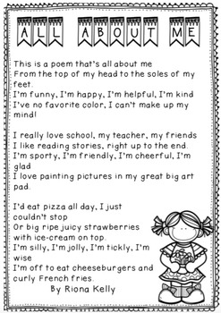All About Me - Poetry Freebie