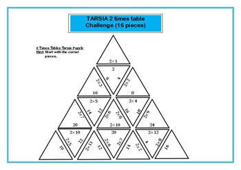 Tarsia Differentiated 2 Times Table Challenge