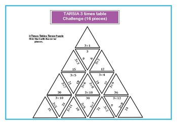 Tarsia Differentiated 3 Times Tables Challenge