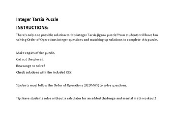 Tarsia Puzzle Integers & Order of Operations