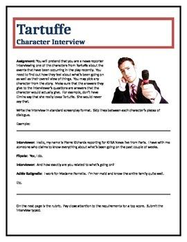 Tartuffe - Character Interview writing assignment