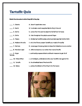 Tartuffe Quiz -- check for after reading the play