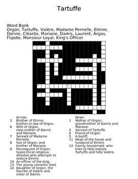 Tartuffe by Moliere Crossword