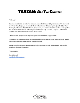Tarzan: Are You Civilized? Worksheet