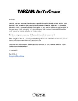 Tarzan: Are You Civilized? Worksheet