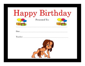 Tarzan Birthday Certificates (Includes 3 Certificates)