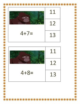 Tarzan Themed: Addition and Subtraction Math Center ( Within 11-15)