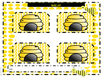 Task Box Box Task Cards/Box Labels/Student Sheet (Bee Theme) Activity Schedule