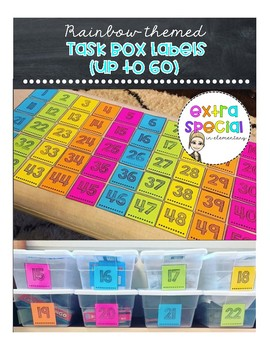 Task Box Labels (up to 60) - Rainbow Themed